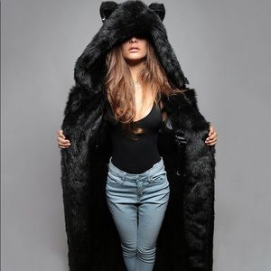 Black Wolf Duster - Long Fur Faux Coat